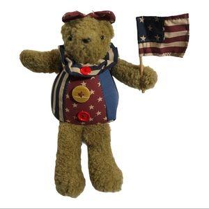 "Bear plush 8"" girl holding us American flag July 4"
